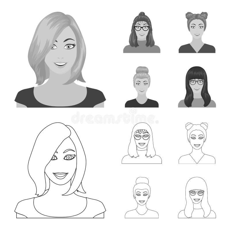 Сторона девушки с стеклами, женщины с hairdo Сторона и значки собрания возникновения установленные в плане, monochrome иллюстрация штока