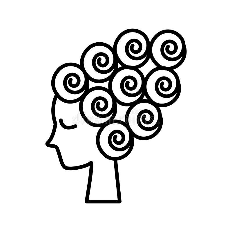 Сторона женщины, женская красота, линия значок вектора curler волос, знак, иллюстрация на предпосылке, editable ходах бесплатная иллюстрация