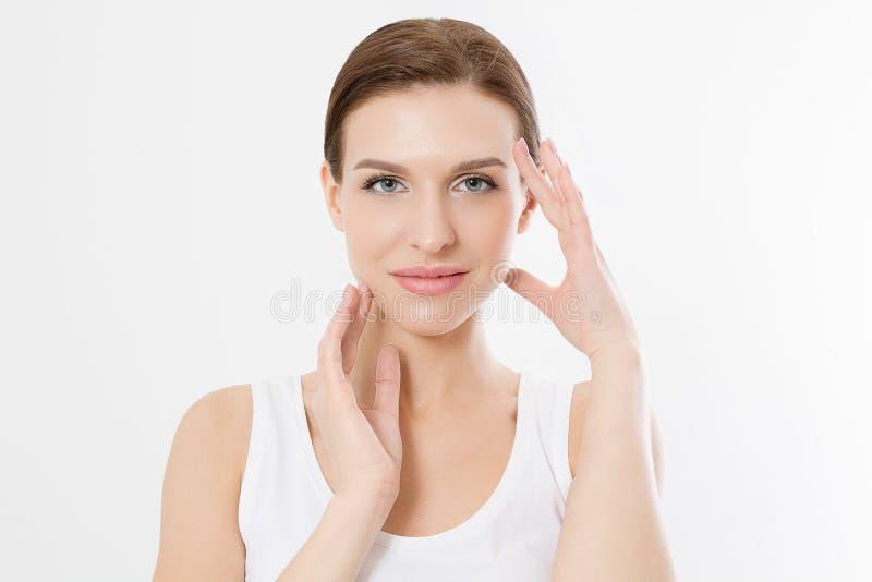 Сторона женщины макроса без морщинок на лбе Забота кожи и красота стороны курорта Обработка косметологии лицевая и анти- концепци стоковое изображение rf