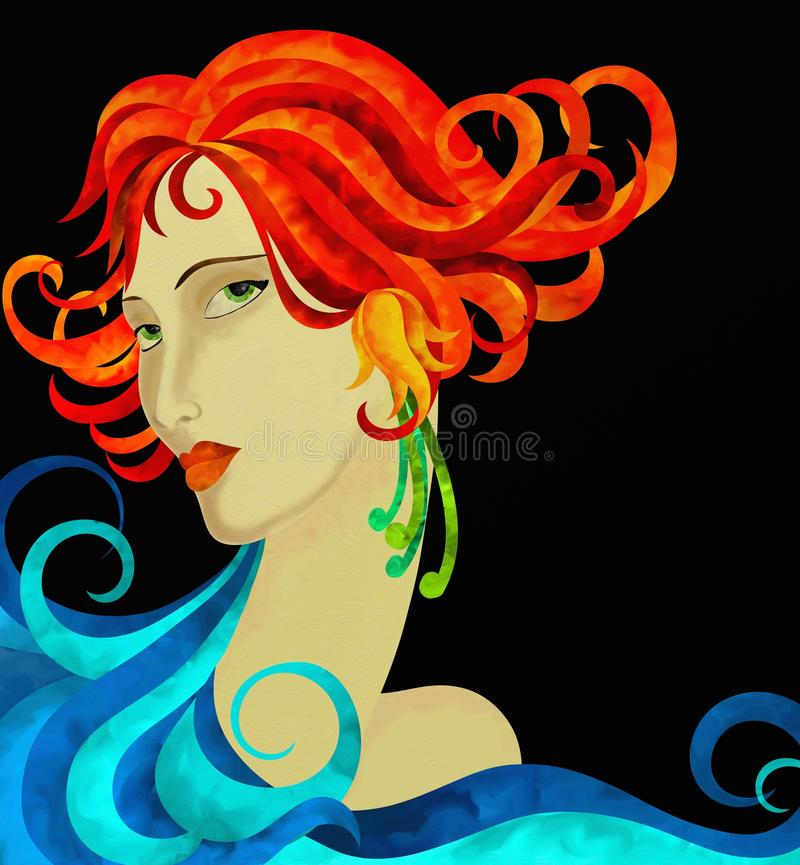 Сторона женщины с красными волосами иллюстрация штока
