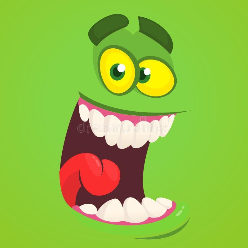 Сторона изверга шаржа Воплощение изверга зомби зеленого цвета хеллоуина вектора иллюстрация штока
