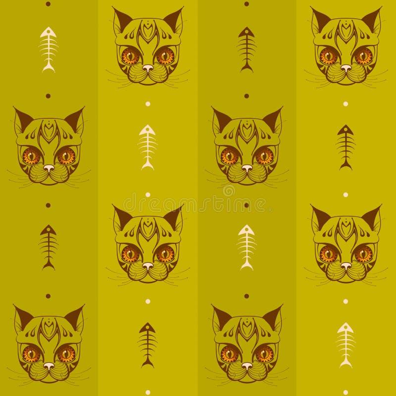 Сторона кота с скелетом картины 03 рыб иллюстрация вектора
