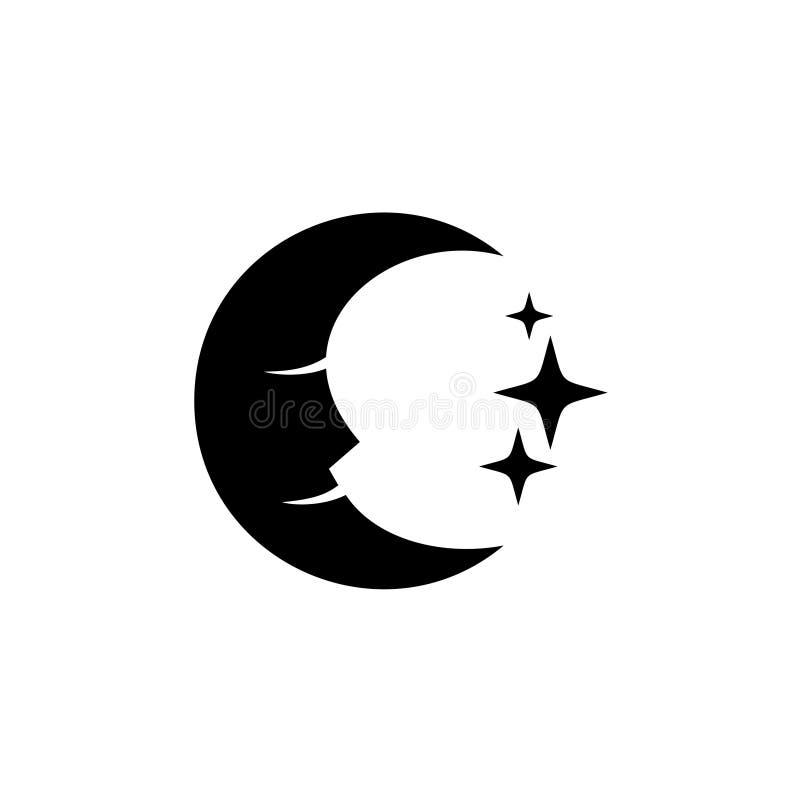 Сторона луны с логотипом силуэта звезд черным бесплатная иллюстрация
