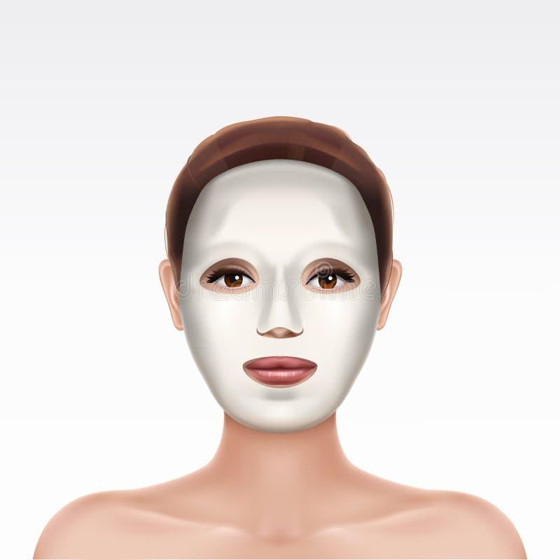 Сторона маленькой девочки прикладывая косметическую лицевую маску бесплатная иллюстрация