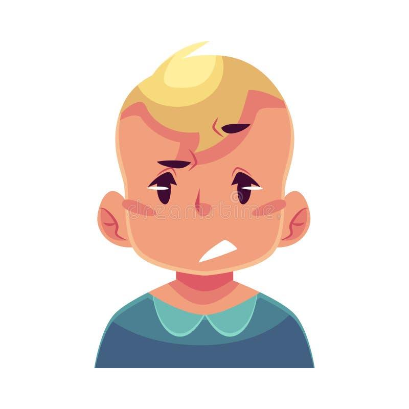 Сторона мальчика, осадка, confused выражение лица иллюстрация вектора