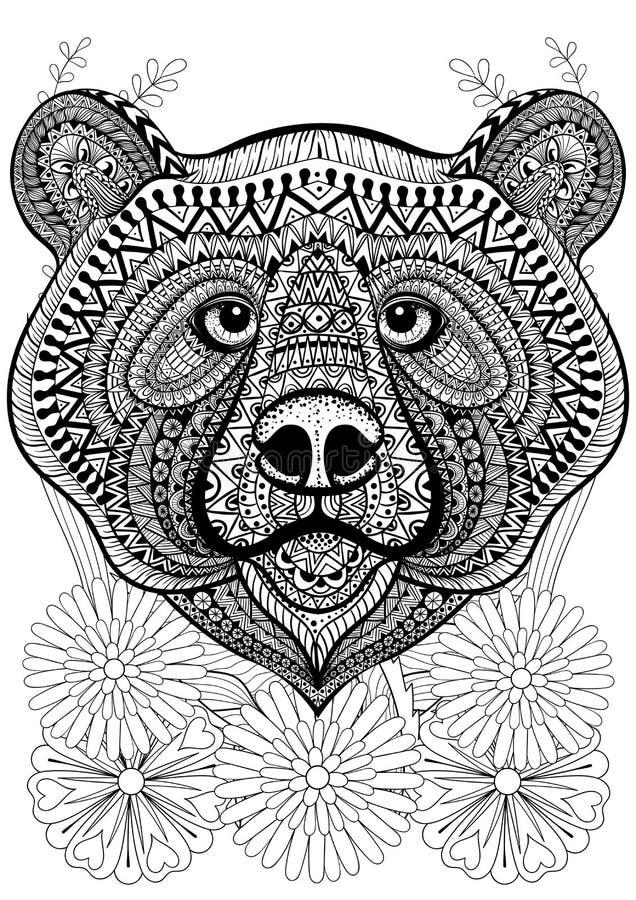 Сторона медведя Zentangle стилизованная на цветках Anima нарисованный рукой этнический бесплатная иллюстрация