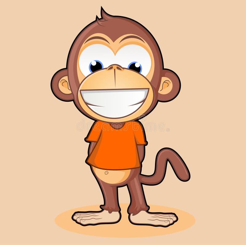 Сторона милого персонажа из мультфильма обезьяны усмехаясь бесплатная иллюстрация