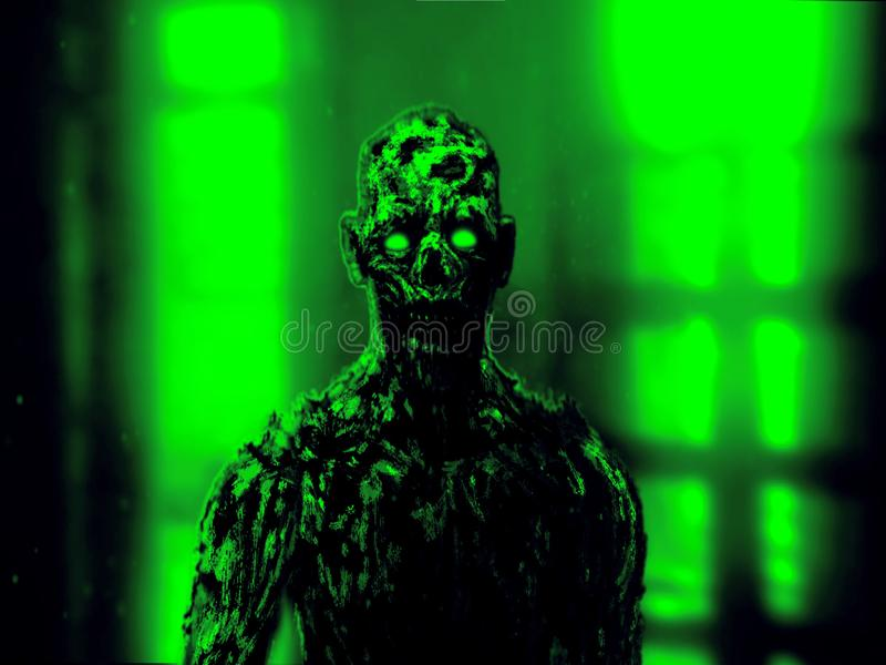 Сторона мрачного зомби апоралипсическая Зеленый цвет иллюстрация вектора