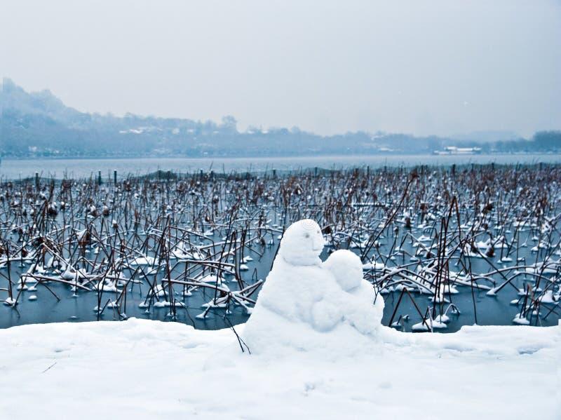 Сторона озера Ханчжоу западная снеговика стоковая фотография rf