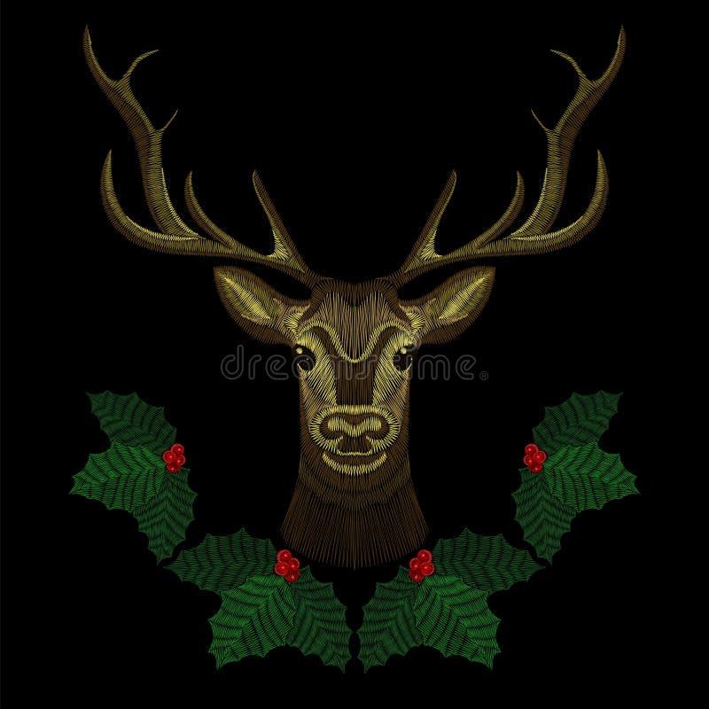 Сторона оленей вышивки милая с венком омелы рождества, рожк-оленем для моды конструирует носить Вышитая заплата иллюстрация вектора