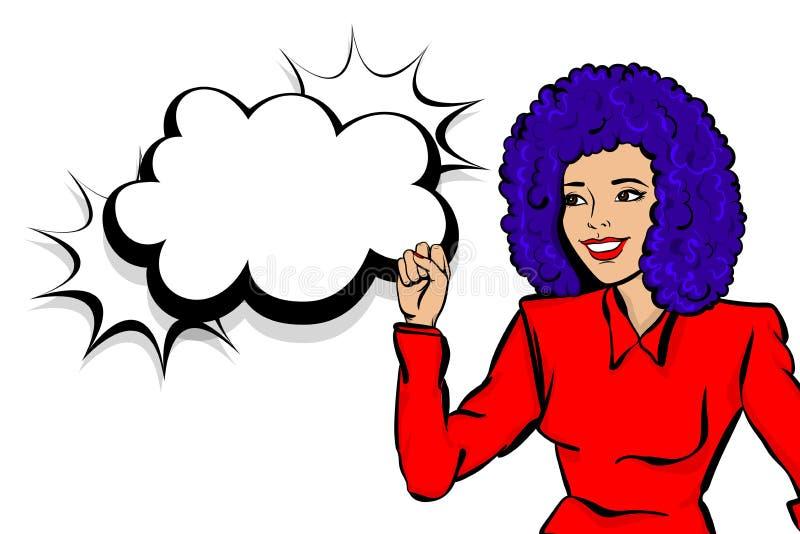 Сторона ретро девушки женщины искусства попа счастливая иллюстрация вектора
