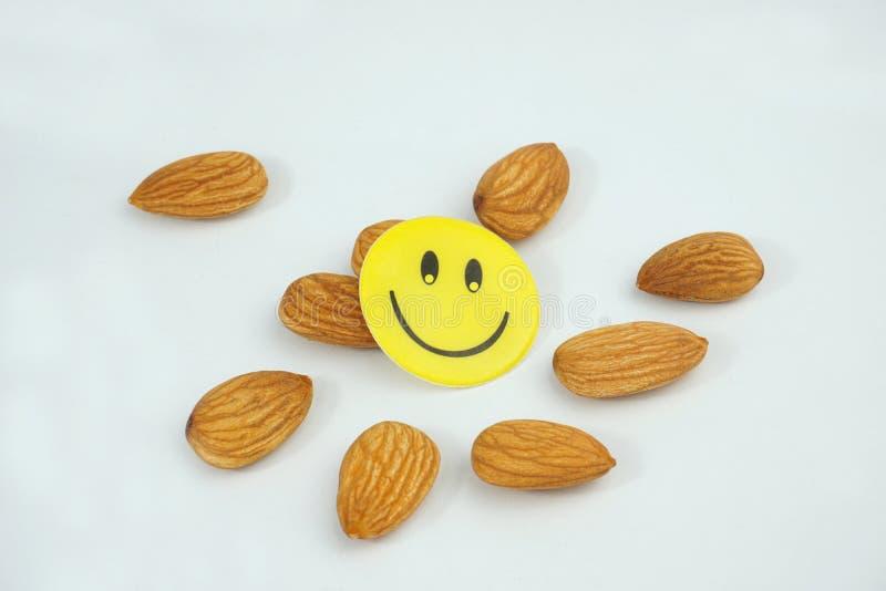 Сторона свежих органических миндалин smiley счастливая изолированная на белой предпосылке стоковое фото