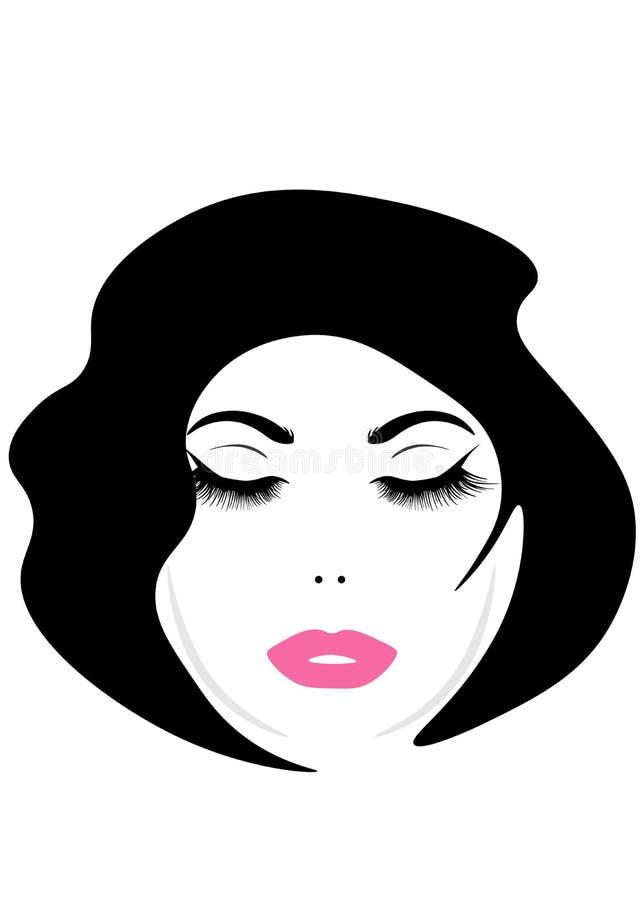 Сторона сети молодой красивой женщины с длинными волосами Значок стиля причесок женщин Женщины логотипа смотрят на с модным стиле иллюстрация вектора