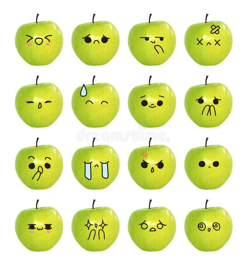 Сторона смайлика милая - зеленый изолят яблока на белой предпосылке иллюстрация вектора