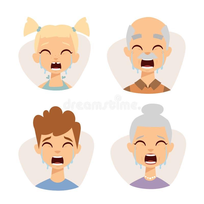 Сторона смайликов вектора установленная плача иллюстрации характеров воплощений сюрприза удара страха людей иллюстрация вектора