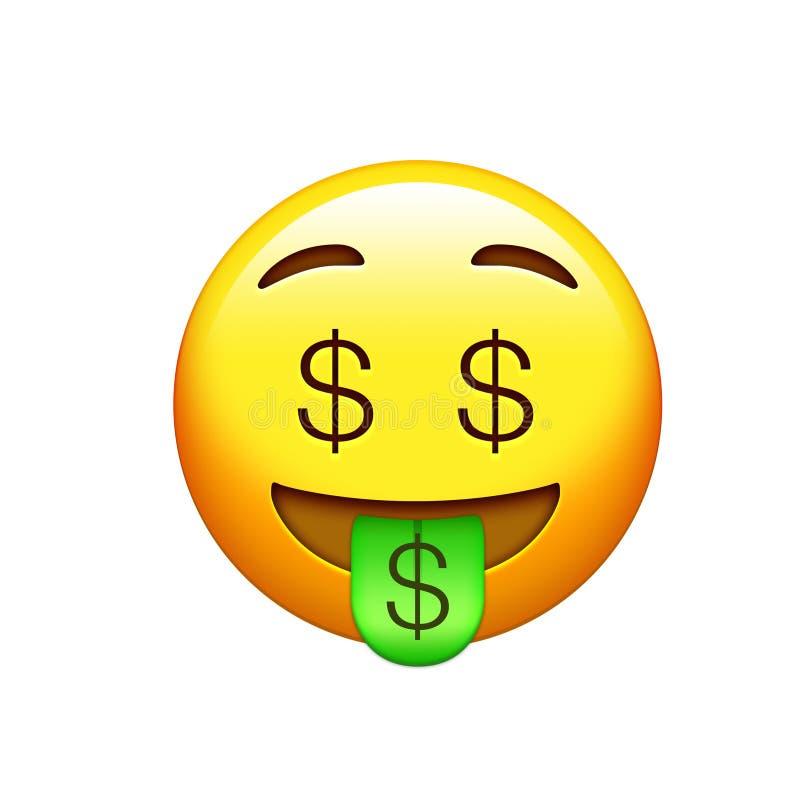 Сторона счастливых Emoji желтая и смеха с глазами доллара и ou языка иллюстрация вектора