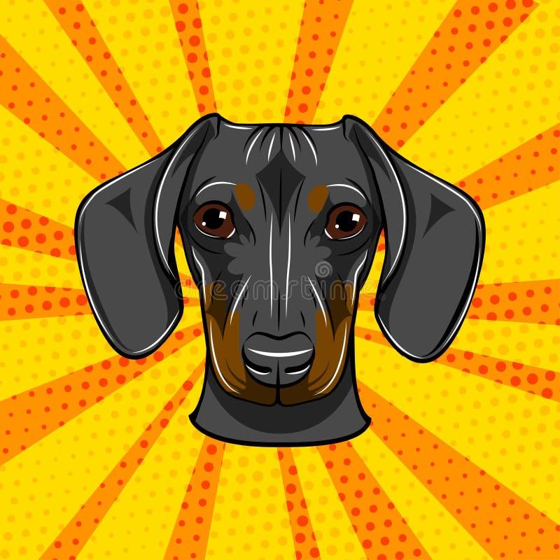 Сторона таксы Голова намордника портрета собаки Порода собаки вектор иллюстрация вектора
