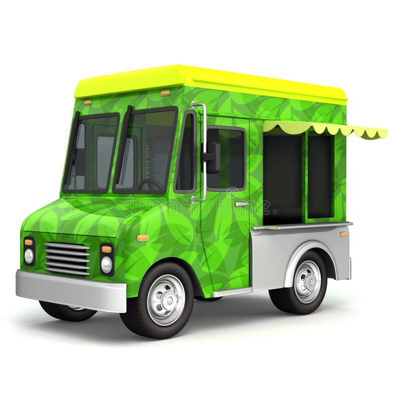 Сторона тележки зеленой еды Eco иллюстрация вектора