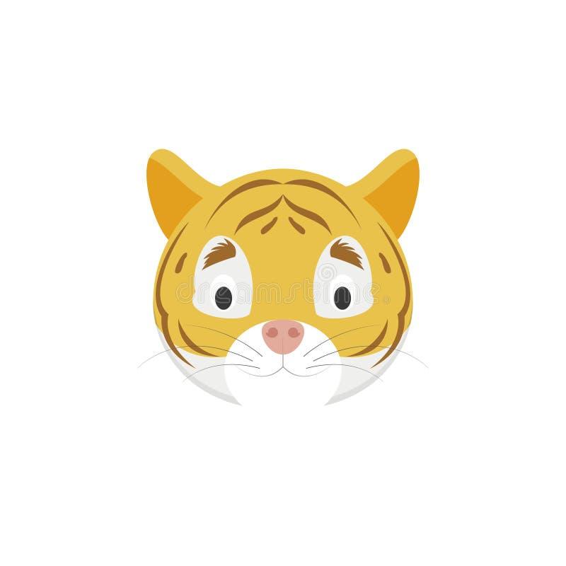 Сторона тигра в стиле шаржа для детей иллюстрация вектора