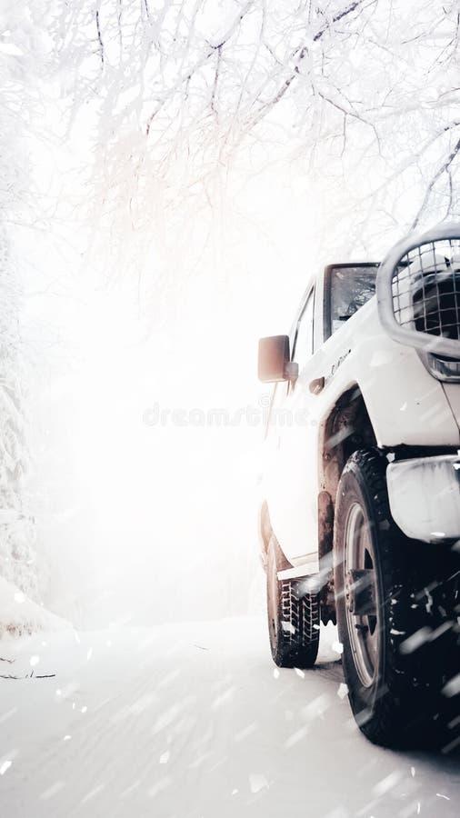 Сторона тяжелого белого автомобиля 4x4 в снеге стоковые фото