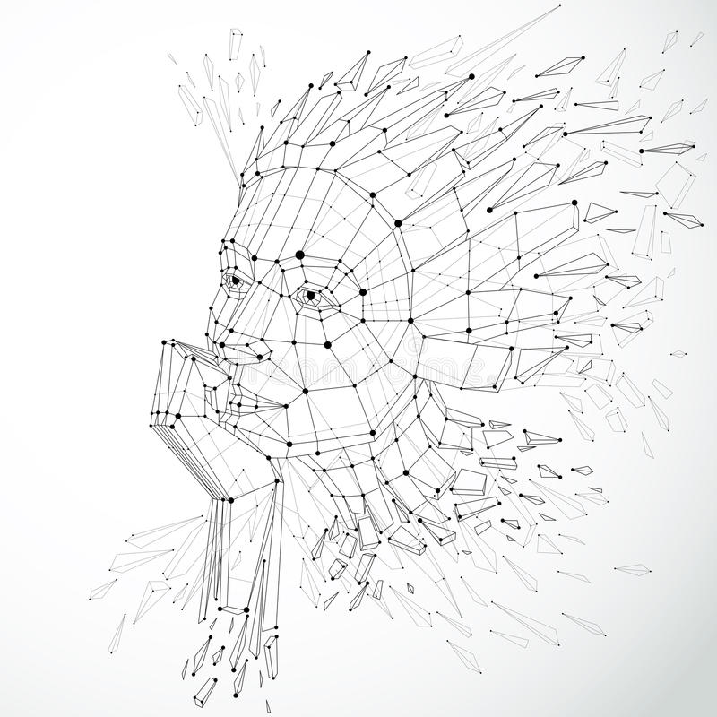 Сторона думая женщины созданной в низком поли стиле и с conn иллюстрация штока