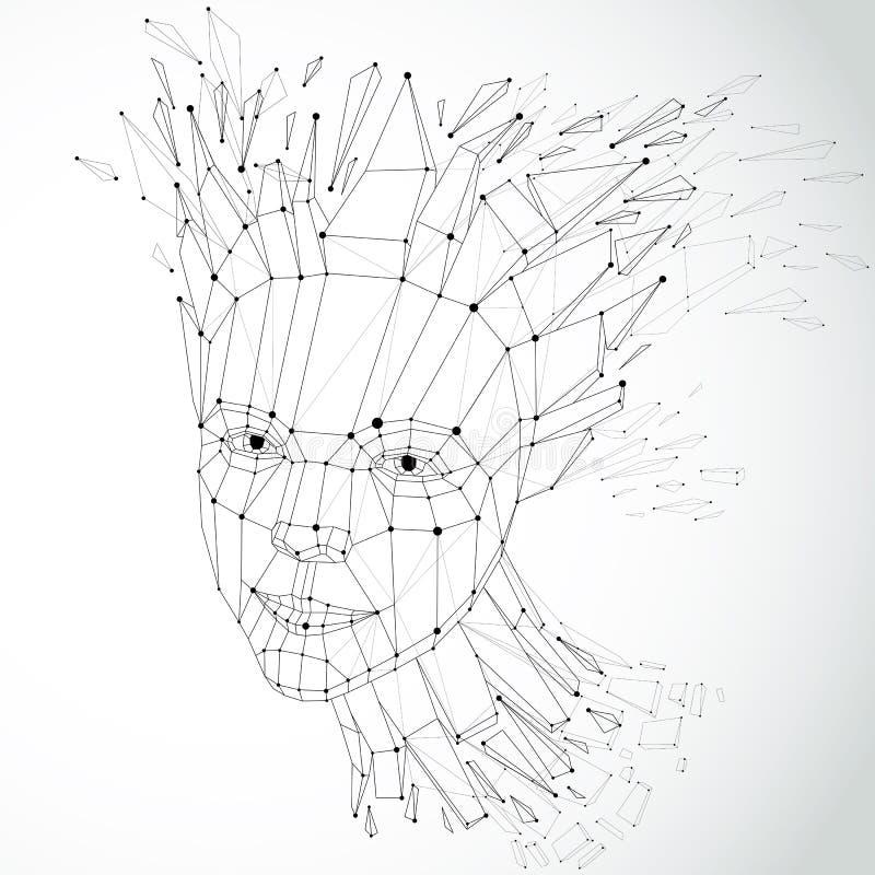 Сторона думая женщины созданной в низком поли стиле и с conn иллюстрация вектора
