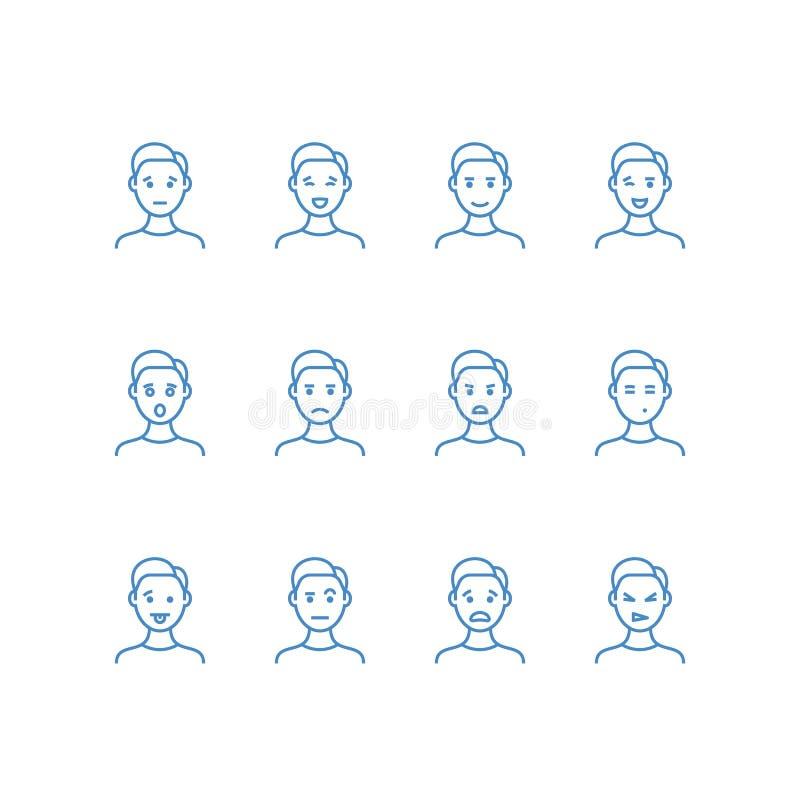 Сторона человека с различной линией значками эмоций Мужские символы плана профиля emoji Счастливый, унылый, потеха и сердитый уко иллюстрация вектора