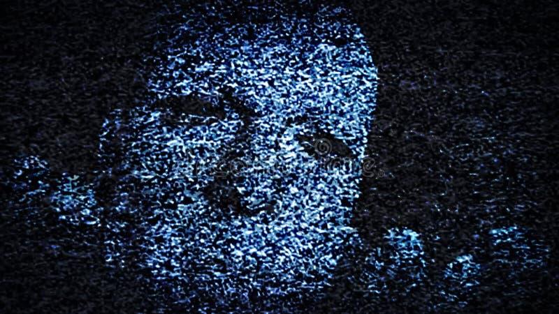 Сторона человека в Static ТВ иллюстрация вектора