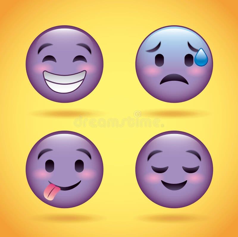 Сторона Smiley установленная фиолетовая с персонажем из мультфильма выражения лица эмоций смешным бесплатная иллюстрация