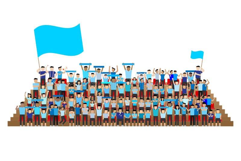Сторонник команды на стойке мест стадиона иллюстрация штока