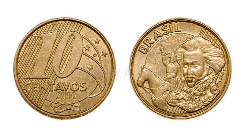 Стороны бразильской реальной монетки 10 центов передние и задние стоковая фотография