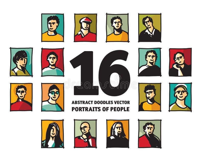 Стороны воплощений портретов значков людей Doodles абстрактные иллюстрация штока