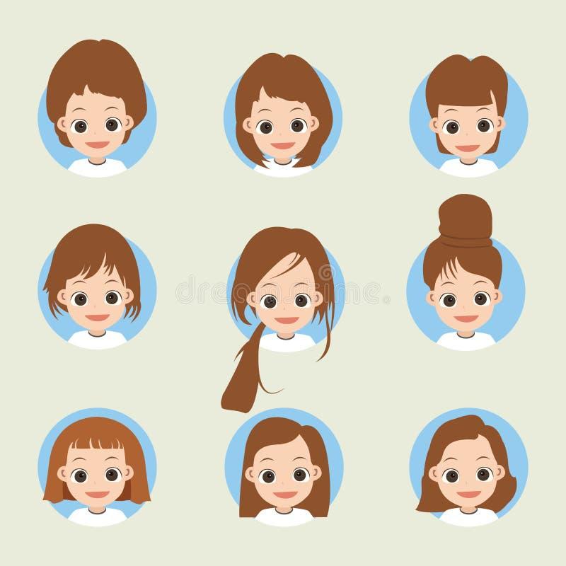 Стороны девушки с различными стилями причёсок иллюстрация вектора