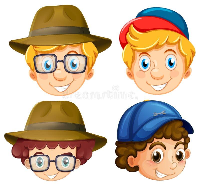 4 стороны мальчиков нося шляпы иллюстрация вектора