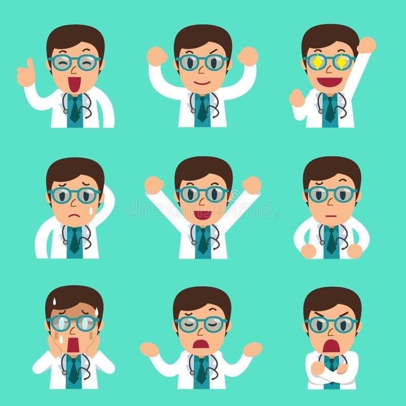 Стороны доктора шаржа мужские показывая различные эмоции иллюстрация штока