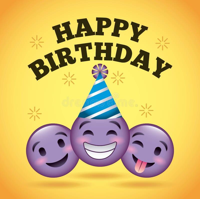 Стороны пурпура emoji улыбки поздравительой открытки ко дню рождения с днем рождений иллюстрация вектора