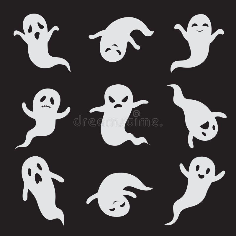Стороны хеллоуина призрака призрачные Пугающим значки изверга изолированные вектором иллюстрация вектора