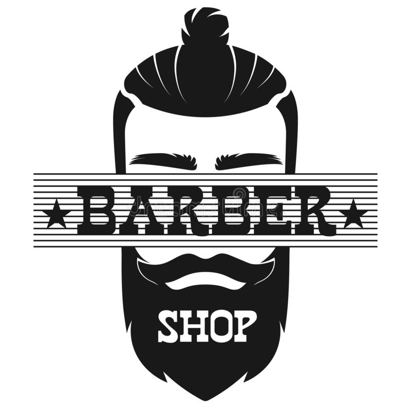 Стороны человека парикмахерской иллюстрация вектора логотипа ярлыка бородатой ретро винтажная иллюстрация штока