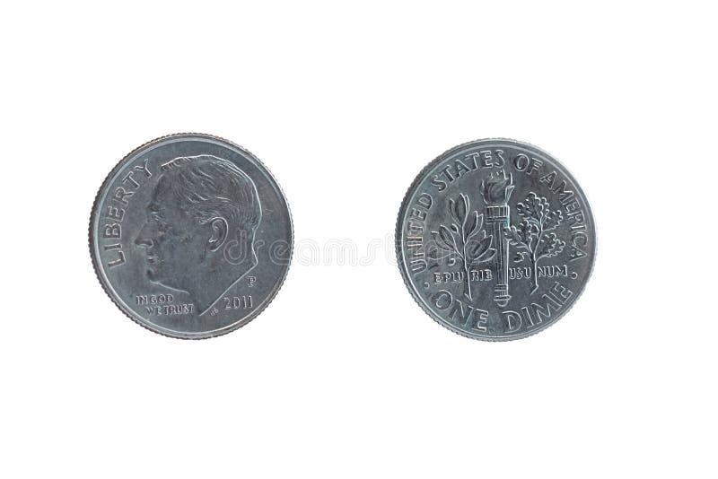 2 стороны этих же монетка одно монета в 10 центов стоковые фотографии rf