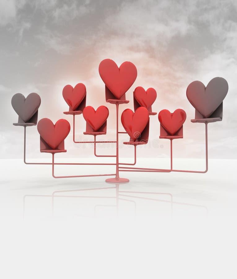Стоьте с красными сердцами на пасмурном светотеневом небе иллюстрация вектора