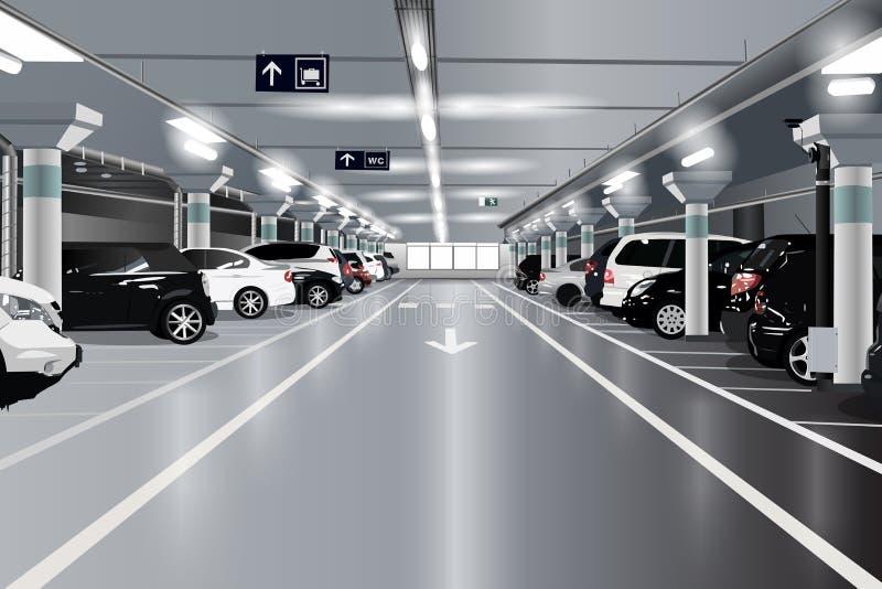 стоянка автомобилей влияния контраста цветов подземная иллюстрация вектора