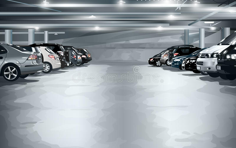 стоянка автомобилей влияния контраста цветов подземная иллюстрация штока
