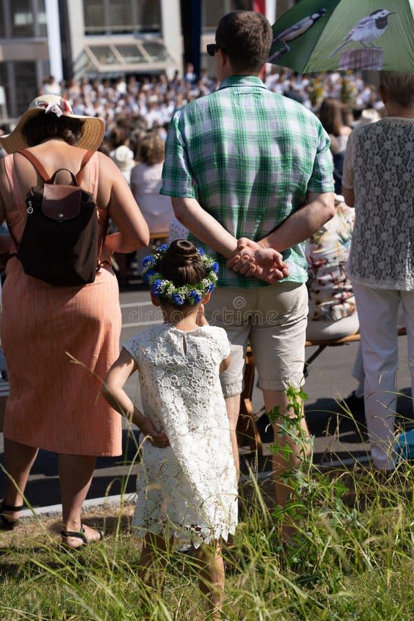 Стоять за большим человеком - Jugendfest Brugg Impressionen стоковое изображение