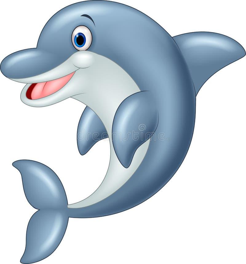 Стоящая иллюстрация шаржа дельфина иллюстрация вектора