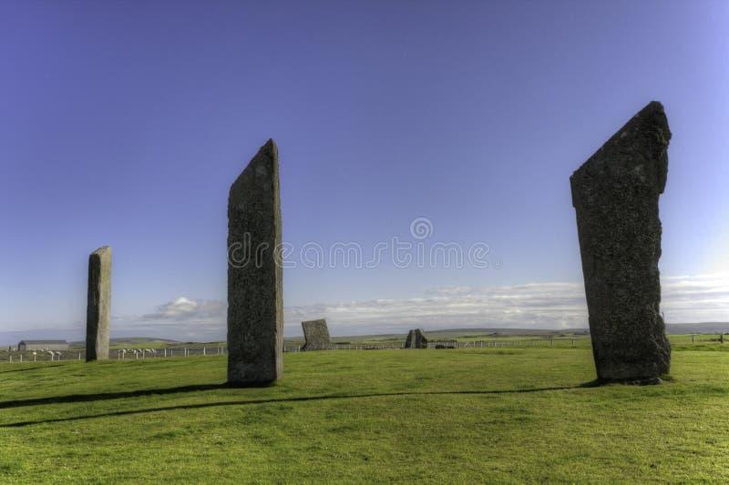 Стоящие камни Stenness, оркнейских остров, Шотландии стоковая фотография rf