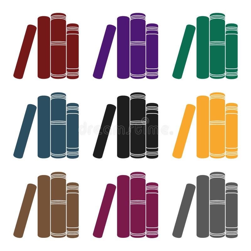 Стоящий значок книг в черном стиле изолированный на белой предпосылке Записывает иллюстрацию вектора запаса символа иллюстрация вектора