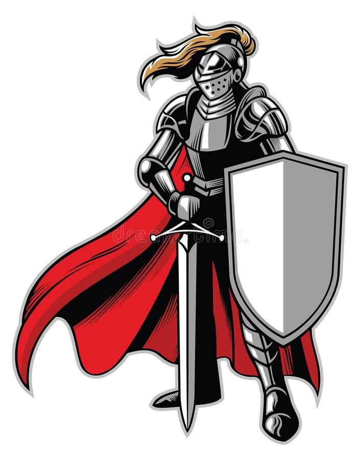 Стоящий талисман рыцаря бесплатная иллюстрация