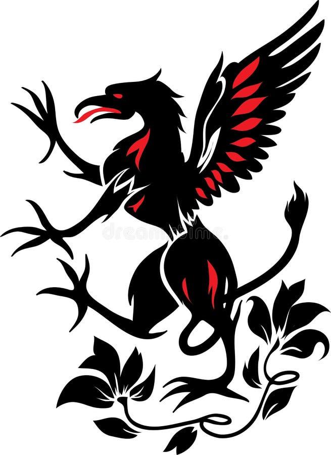 Стоящий черный грифон с цветком иллюстрация вектора