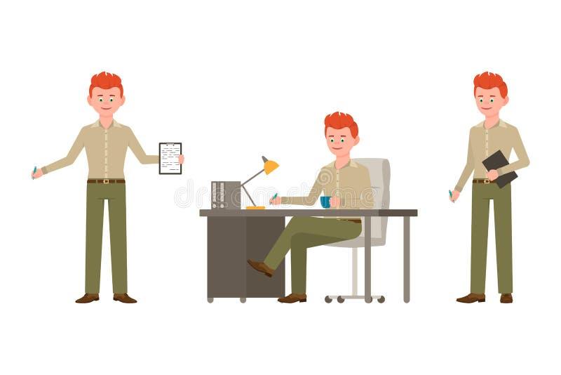 Стоящ с примечаниями, пишущ на таблице, сидя мультфильм мальчика взгляда со стороны Счастливый, усмехающся, вектор парня офиса кр бесплатная иллюстрация