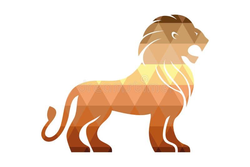 Стоя лев с раскрытым ртом иллюстрация вектора